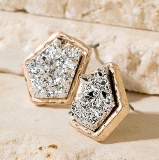 Two tone druzy stone earrings