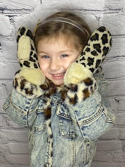 Warm Kids Leopard Mittens