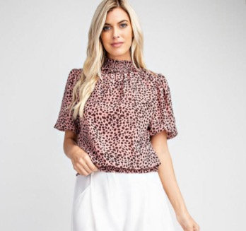 Ruffled Neckline Puff Shoulder Top