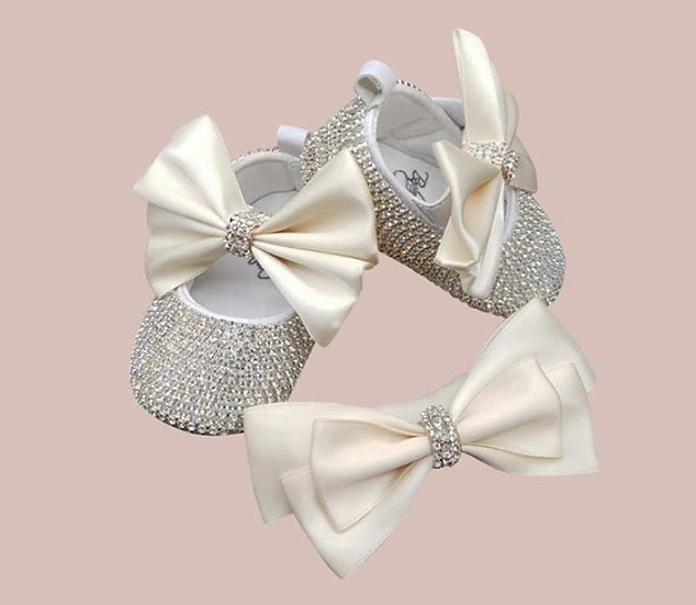 Ivory Crystal Shoes with Matching Headband