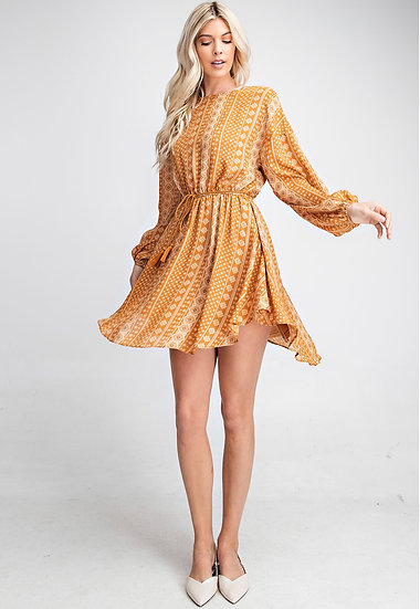 Caramel Abstract Print Belted Dress