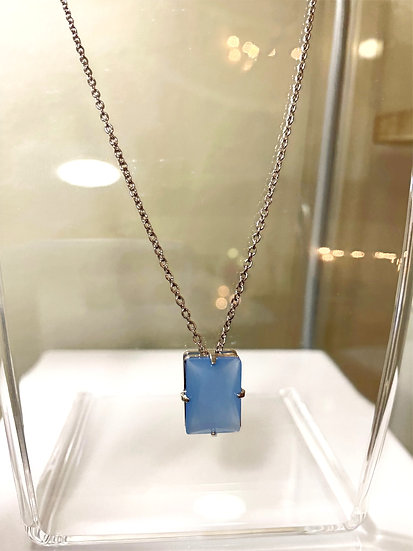 Blue Stone Rhodium Plated