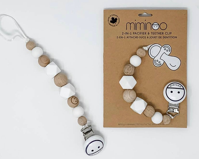 2-in-1 Pacifier / Teether Clip Beads White