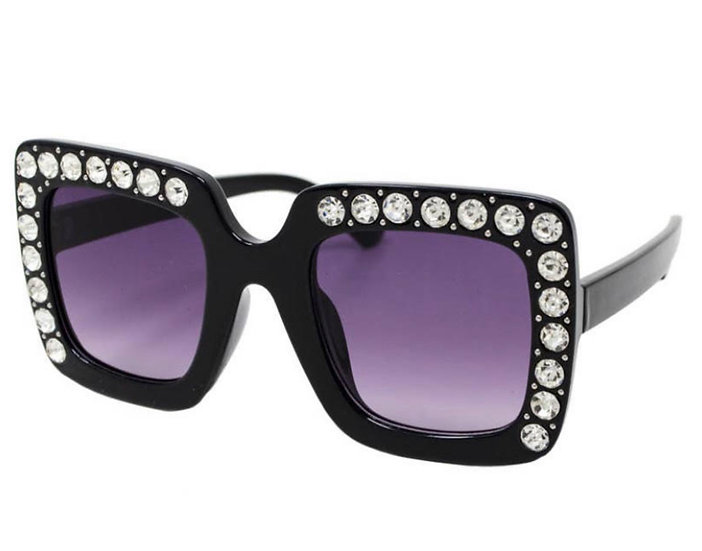 Kids Sunglasses Oversized Square with Crystals