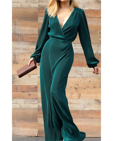 PLATED MAXI DRESS PUFF SLEEVE