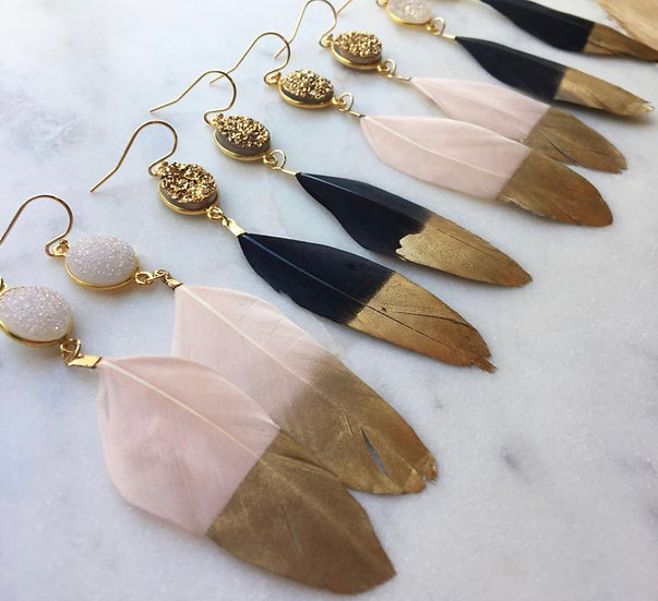 Druzy Gold Dipped Feather Earrings