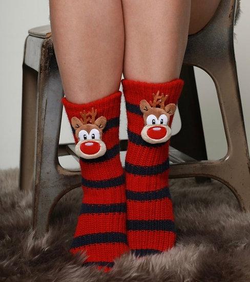 Cozy Knit reindeer striped sleep socks