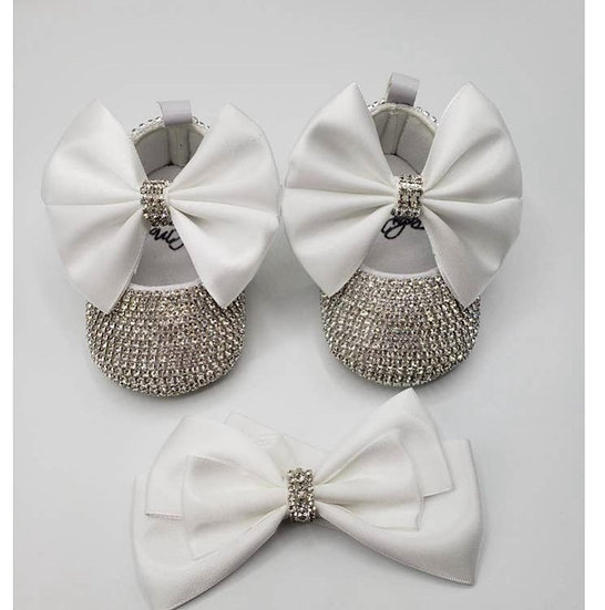 Crystal White Baby Shoe & Headband