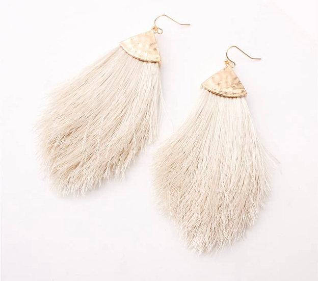 Ivory Tassel Fringe Earring
