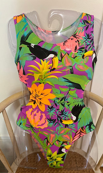 Tropical Peek A Boo One Piece Bathing Suit