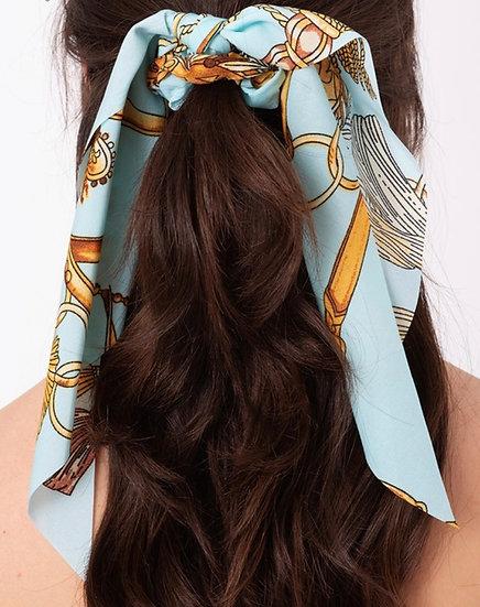 Multi print ponytail scrunchie.