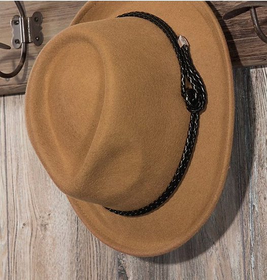 Pecan Vegan Leather Knotted Wool Fedora Hat