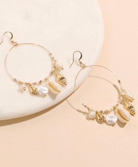 Fresh Water Pearl & Shell Charms Earrings