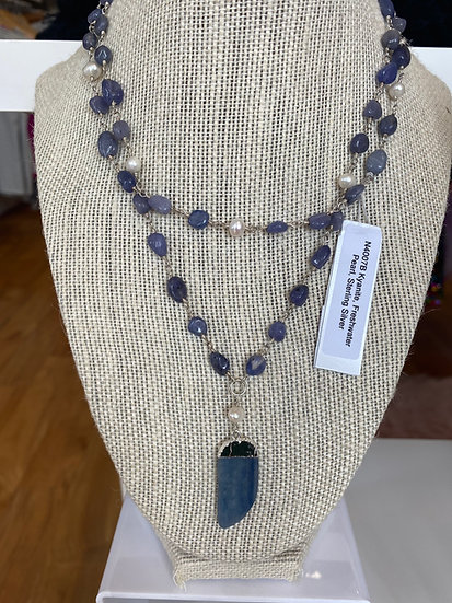 Long Necklace Kyanite w/ Pearls