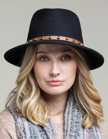 Wide-brim  wool felt fedora hat