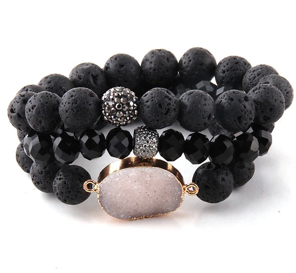 Lava Rock Druzy Set