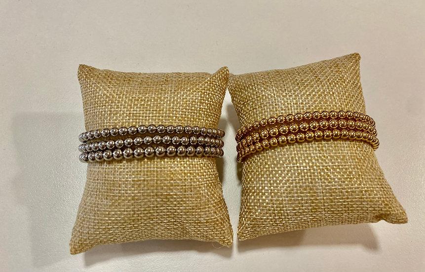 Metal bead stretch bracelet set of 3
