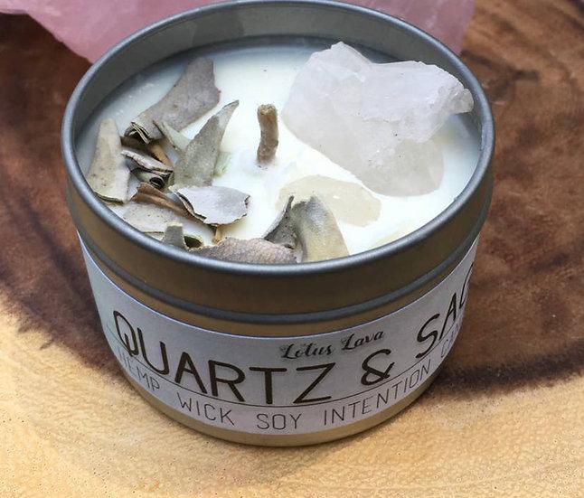 Quartz and Sage Manifestation Candle
