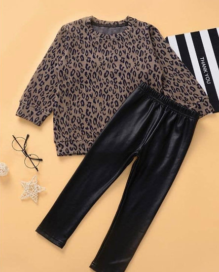 Leopard Top and Faux Leather