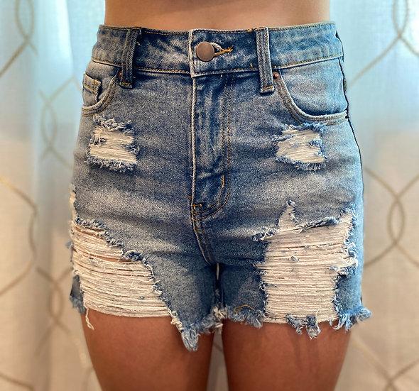 High-Waisted Cutoff Denim Shorts