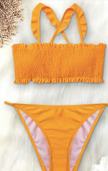 Yellow Back Tie Bikini