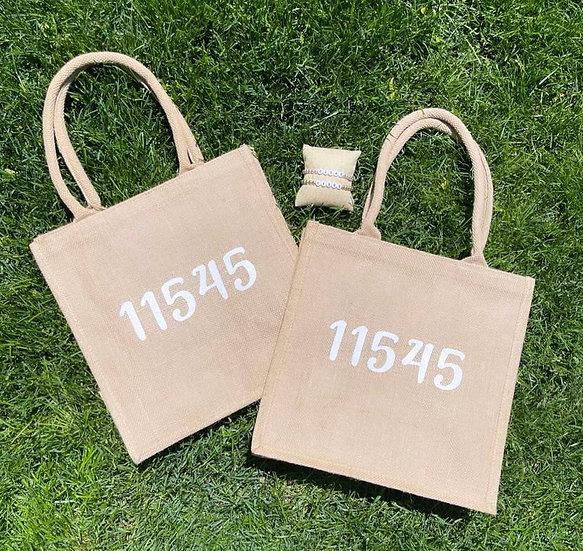 Zip Code Burlap Bags
