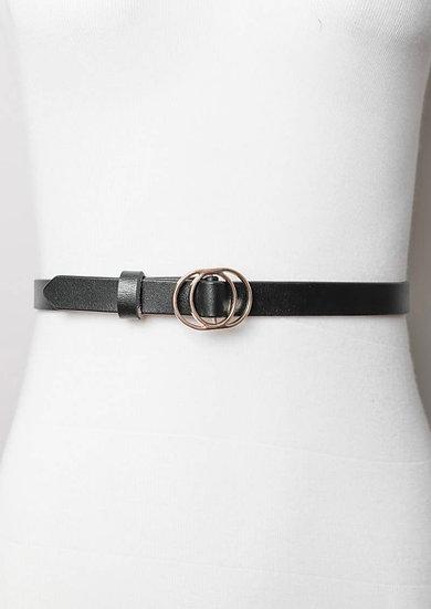 Double ring buckle cinch belt