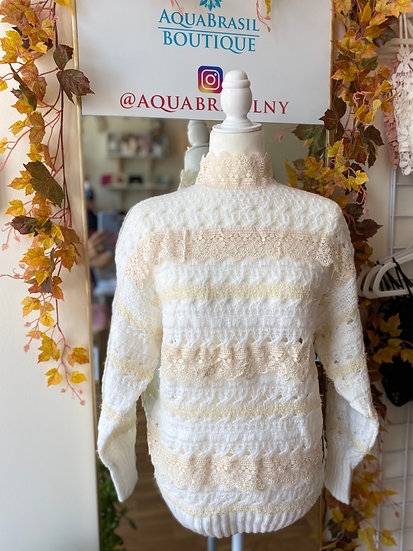 All Over Lace Trim Sweater
