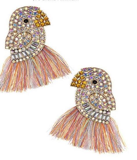 Swarovski Bird Rainbow Tassel Earrings
