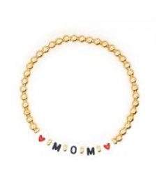 Mom gold bead bracelet