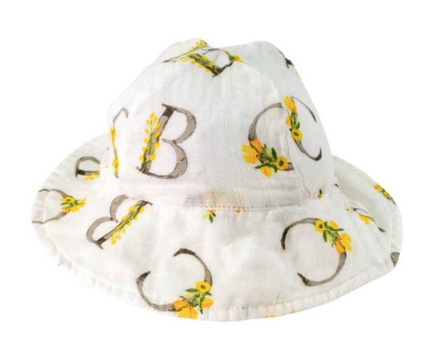Floral Alphabet Oh-So-Soft Muslin Sun Hat