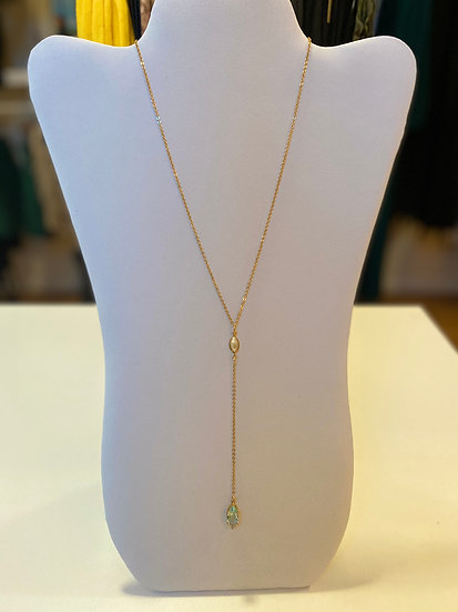 Azure Y Shape Gold Plated Necklace