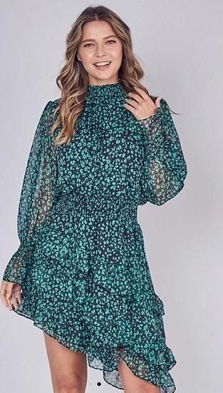 Leopard print mock neck asymmetric midi dress