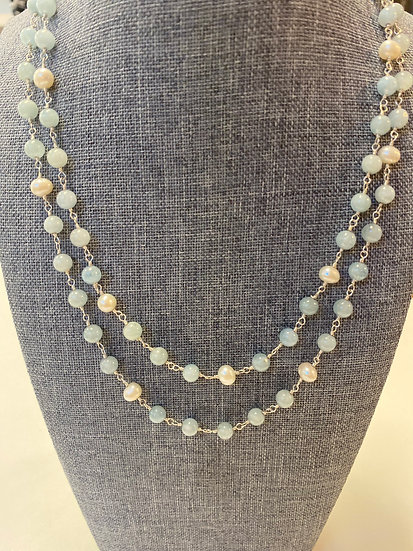 Double Aquamarine Natural Pearl Necklace