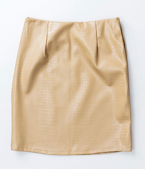 Snake faux leather skirt