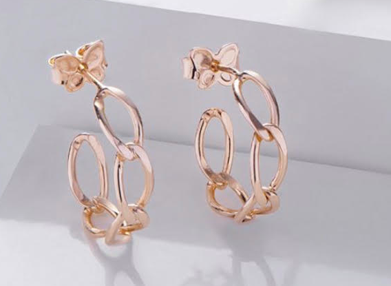 Gold Chain Small Hoops