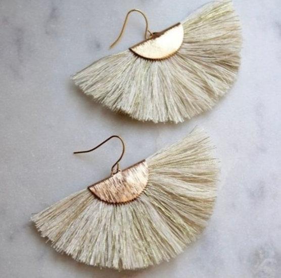 Cream Fan Earrings
