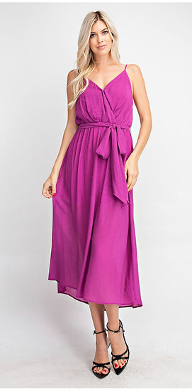 Magenta Surplice Belted Midi Dress