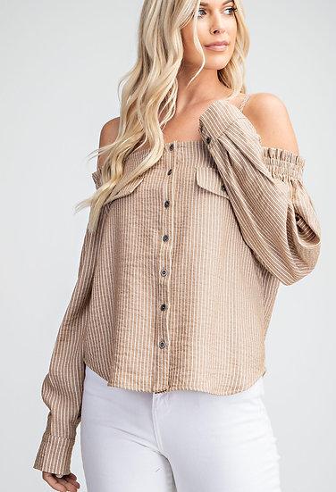 Off-The-Shoulder Stripe Shirt