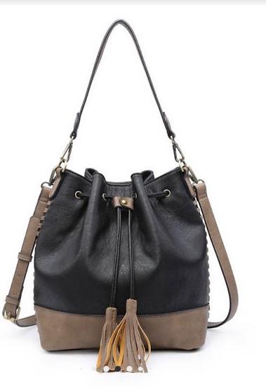 Drawstring Tote Bag - Black and Brown