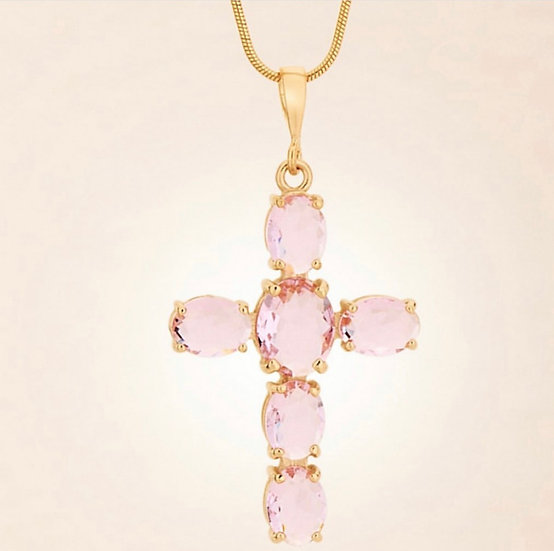 Pink Crystal Cross In 18K Gold Plate Over Sterling.