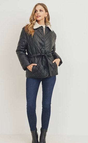 Quilted faux leather Jacket w/ Sherpa Collar