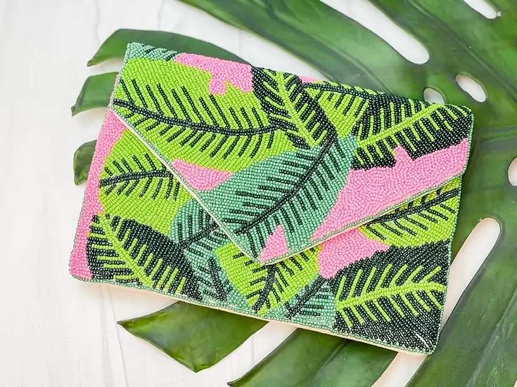 Green Palm Leaves Beaded Clutch/Crossbody