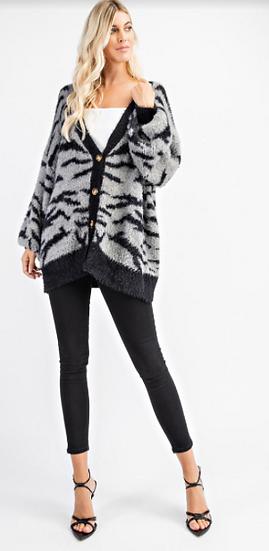 Zebra Print Oversized Sweater