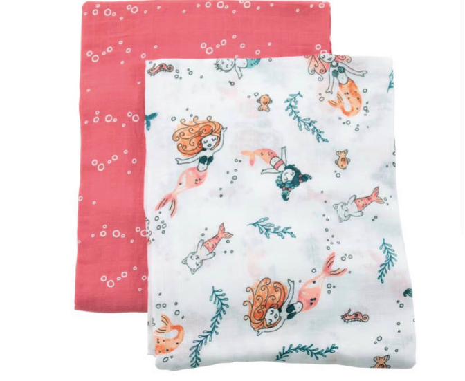 Mermaid & Bubbles Oh-So-Soft Muslin Swaddle Blanket Set