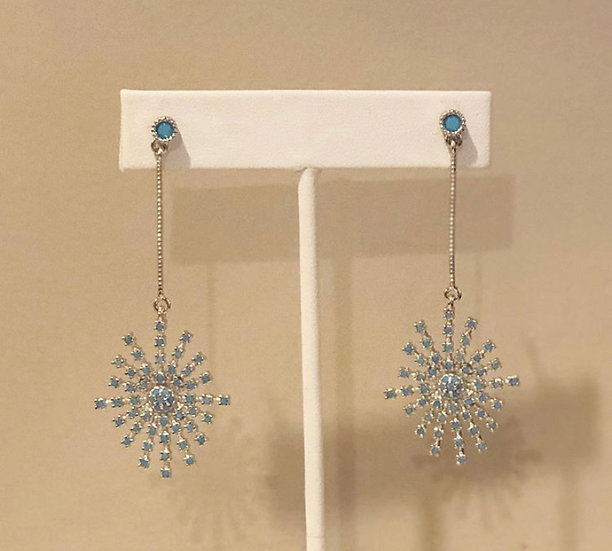 Rhodium plated blue ray earrings