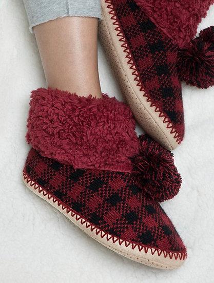 Buffalo plaid twill indoor slipper boot
