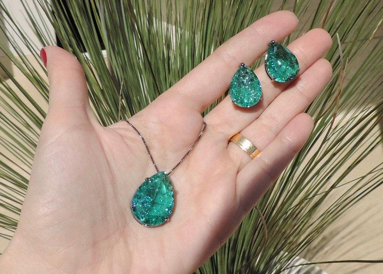 Green Paraiba Fusion Stone Set