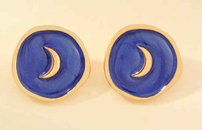 Moon Enamel Earrings