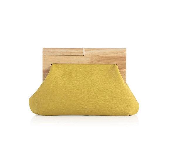Harlow Wood Frame Clutch - Lemon